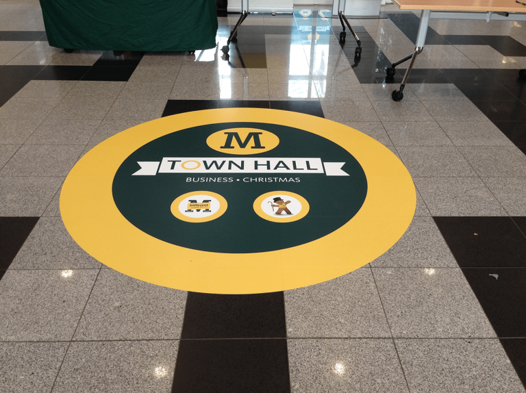 indoor floor graphics by print and cut